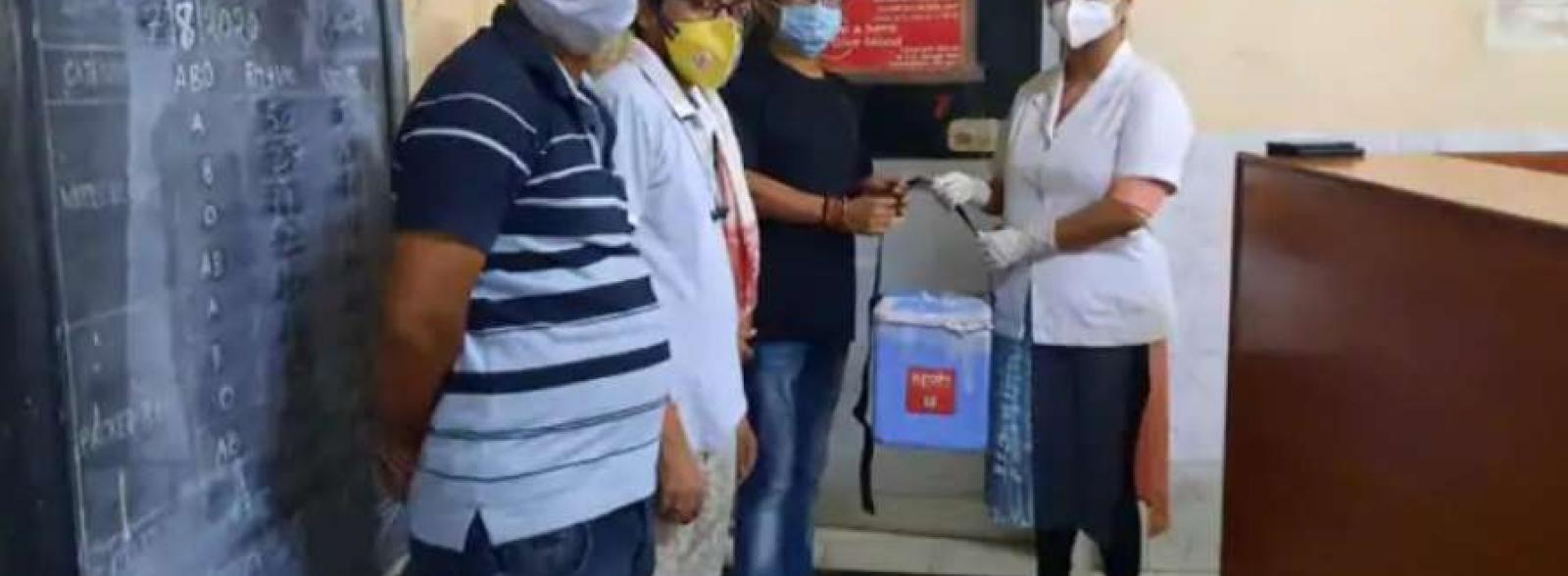 Plasma was handed over in early morning to the Dibrugarh medical college.(matribhumi)